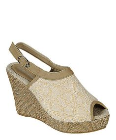 Beige Lace Echo Wedge Sandal