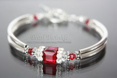 Red Swarovski Crystal Bracelet by PearlTwinkle