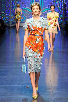 D & G~ Spring 2012.  Not crazy about the veggie print, but I love the contrasting colors and textures.