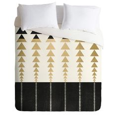Elisabeth Fredriksson Triangles In Gold Duvet Cover | DENY Designs Home Accessories