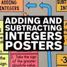These bulletin board posters will help your class learn adding & subtracting integers and will look GREAT on your wall! Every or grade math class should have this integers anchor chart! Fourth Grade Math, Math Class, Math Teacher, Teaching Math, Math Tips, Math Lessons, Math Activities, Teacher Resources, Algebra Bulletin Boards