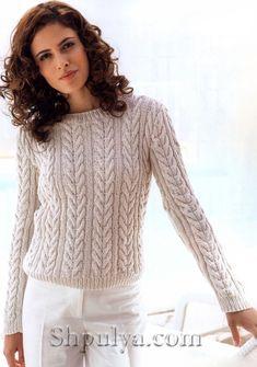 Шелковый пуловер с косами, вязание спицами для женщин с описанием, пуловер с косами спицами описание+схема, весенний пуловер спицами, /5557795_1344_1 (491x700, 252Kb)