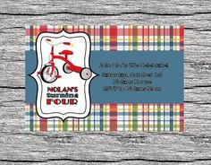 How cute!! Maybe Baby Shower Invite???  Plaid Tricycle Birthday Invitation by YankeeBabyDesigns on Etsy, $10.00