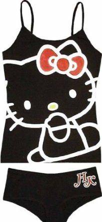 Hello Kitty Face Black/White Cami/Panty Set for women