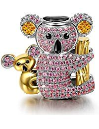 "NinaQueen ""Koala Baby"" 925 Sterling Silver Gold Plated Lavender Pink Cubic-Zirconia [Happy Family] Charms,  Cute Animal Charms Ideal Gift for Mom  ASIN:  B01N13KF31"
