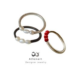 Silver ring with pearls,ring with corals,contemporary ring,greek jewelry designer,daxtylido me margaritari, me korali