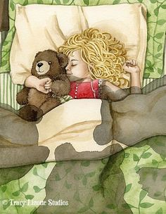 Goldilocks and the Three Bears - 8x10 archival watercolor print by Tracy Lizotte