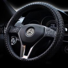 Braided Leather Steering wheel cover - Black – Carsoda