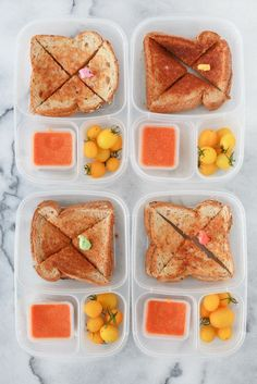 Grilled cheese sandwiches packed for lunch!  | packed in #EasyLunchboxes container