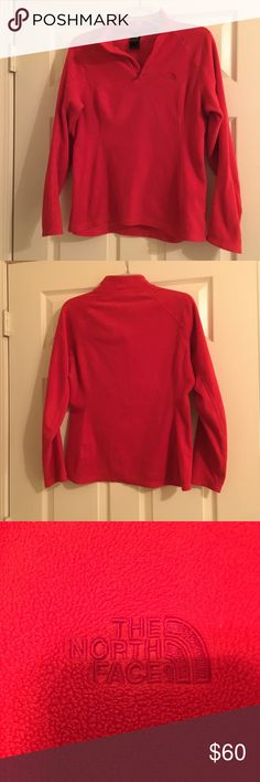 💙SALE💙The North Face flees would over This is a red quarter zip fleece pull over, it has been worn a few times and is in good condition. It is a size medium. The North Face Tops Sweatshirts & Hoodies