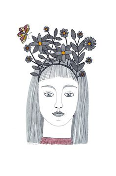 Nature's Tiara by Cathy Connolley.  A second version of the tiara, this time an original pen and ink drawing.