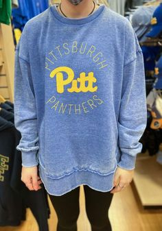 Pitt Panthers Womens Blue Bakersfield Crew Sweatshirt - 22641643 Pitt Panthers, Team Names, Crew Sweatshirts, Graphic Sweatshirt, T Shirt, Stay Warm, Team Logo, Big Game, Pittsburgh