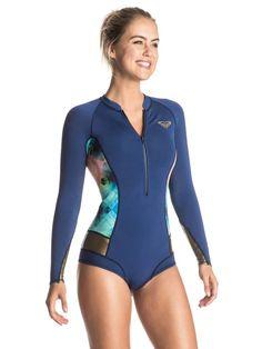 58457c4a3e304 roxy, Pop Surf 2mm Long Sleeve One Piece Wetsuit, BLUE DEPTHS (bta0)
