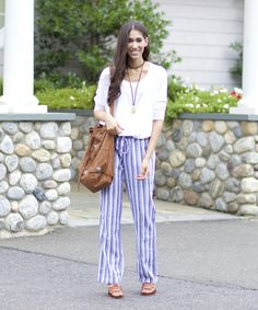 Relaxed Nautical Vibes - The Style Contour | labor day weekend outfit idea, striped linen pants, striped beach pants, what to wear to the beach, hamptons outfit idea, what to wear to the hamptons, stripe pants, how to dress your body type, how to determine your body type, fashion tips for your body type