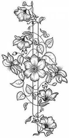 Flower coloring pages, craft patterns, cross stitch embroidery, hand embroidery patterns, ribbon Hand Embroidery Patterns, Ribbon Embroidery, Embroidery Stitches, Embroidery Designs, Flower Coloring Pages, Coloring Book Pages, Black And White Flowers, Parchment Craft, Fabric Painting
