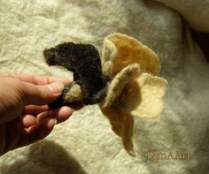CAPPUCCINO & CHOCOLATE  Artistic felted flower brooch by LanAArt, $23.00