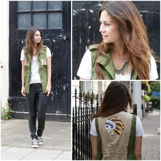 Forever 21 Tshirt, Forever 21 Faux Leather Skinnies, Romwe Army Vest, Forever 21 Feather Necklace, Converse All Stars