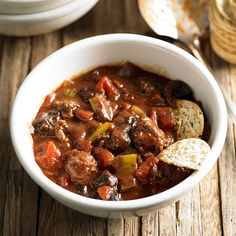 Serve this Game Day Chili at your next get-together! More chili recipes:  http://www.bhg.com/recipes/chili/chili-recipes/?socsrc=bhgpin100813gamedaychili&page=19