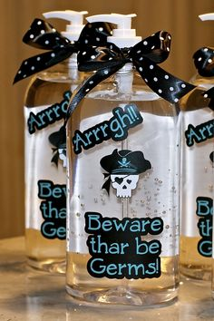 Hand Sanitizer for school where the theme is pirates.