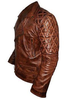 Classic Diamond Men's Biker Vintage Brown 100% Real Leather Jacket