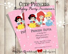 Cute Princess  Birthday Party Invitation  by TodiBoutique on Etsy