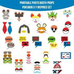 ♥ This set of Photobooth props has 23 pages and includes: 10 Mustaches 5 Lips 2 Ties 6 Glasses 2 Masks 1 Hat 2 Logo Sets 8 Monster Sets 2 Pokeballs 10 Speech Bubble Signs 1 Table Sign and instructions Pokemon Party, Pokemon Birthday, Printable Designs, Printables, Diy Fotokabine, Diy Photo Booth Props, Photobooth Props Printable, Video Game Party, Video Games