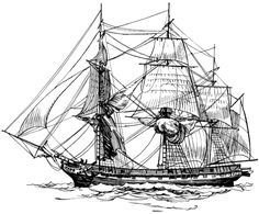 Detailed coloring pages for adults | Coloring Page of a Sailing Ship Called a Frigate