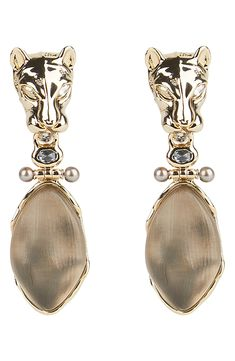 These stunning, sculptural earrings come in a hinged design with a fierce panther head, carved Lucite drop and accents of crystals and pearls. Style Name:Alexis Bittar Future Antiquity Panther Head Clip-On Drop Earrings. Style Number: Available in stores. Alexis Bittar, Panther, Nordstrom, Carving, Sculpture, Drop Earrings, Pearls, Crystals, Antiques