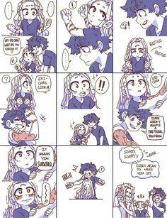 Eri, Izuku Midoriya & Toshinori Yagi (My Hero Academia) Boku No Hero Academia Funny, My Hero Academia Shouto, My Hero Academia Episodes, Hero Academia Characters, Anime Characters, Anime Meme, Funny Anime Pics, Cute Comics, Funny Comics