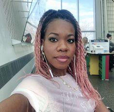 Pink box braids & twist by me. Pink Box Braids, Dreadlocks, Hair Styles, Beauty, Hair Plait Styles, Hair Makeup, Hairdos, Haircut Styles, Dreads