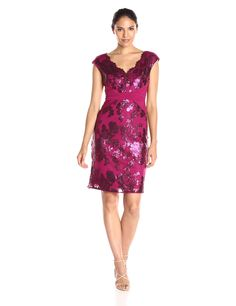 Adrianna Papell Women's Pintucked Jersey and Sequin Sheath Dress