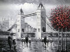I think this will be my birthday present to myself...Tower Bridge London Hand painted Oil on Canvas by TheGreatArtShow