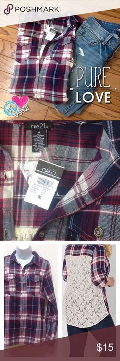 Rue 21  Plaid & Lace Button Down Top ☮ Rue 21  Plaid & Lace Button Down Top ☮ Size Medium ☮ NEW NWT It's Perfect ☮ ❌❌ NO TRADE ❌❌ ✌ FIRM unless BUNDLED for further Discount ✌️ Rue 21 Tops Button Down Shirts