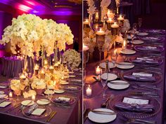 ivory and plum table settings for wedding--close to what I would like to see, except our lights would be larger and the flowers closer to the table