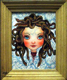 Lil Medusa  Original  Snakes Monster Greek Gorgon by chuckhodi, $80.00