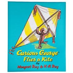 """It's okay to get curious with your wall decor! Open your walls to the cover of imagination with Curious George Flies a Kite Canvas.    This canvas offers a bright blue background with a book cover print of Curious George preparing to fly a yellow and white stripe kite. Hang it in your home classroom, child's bedroom, play room, and more!        Dimensions:      Length: 22""""    Width: 18""""    Thickness: 1 1/2""""          Hanging Hardware:     ..."""