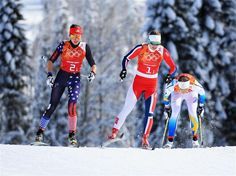 Sophie Caldwell of the United States, Ingvild Flugstad Oestberg of Norway, and Ida Ingemarsdotter of Sweden compete in the Women's Team Sprint Classic Semifinals during Day 13 of the Sochi 2014 Winter Olympics at Laura Cross-Country Ski & Biathlon Center. Sochi 2014 Day 13 - Cross Country Ladies' Team Sprint Classic. © 2014 XXII Winter Olympic Games.