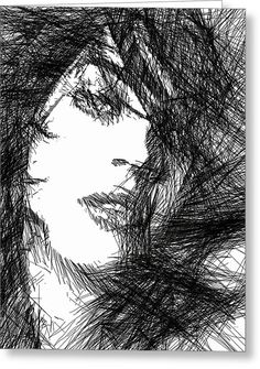 Woman Sketch Greeting Card by Rafael Salazar