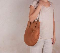 Shoulder leather bag, camel leather bag, shoulder bag women, leather original bag, bags women, nubuk leather bag, minimal accessories, craft  The