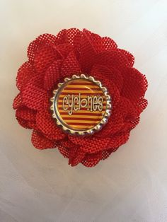 Iowa State Cyclone Flower Hair Clip with bottle cap center, Hair Accessories, Girls, Toddlers, Babies, Cyclones, Red, yellow, Team Apparel, by CottonCandyBows on Etsy