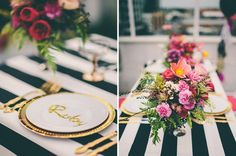 """We're elated to finally share the full Smashing Events shoot for Hello May, featuring letterpress stationery by yours truly! Well done to Carly at Smashing Events and all the contributors >> Cotton Blossom, Float Balloons, and Limes Hotel.  So what do you think? Do you like the """"Black + Gold Wild Flower"""" styling?   View the full post here >> http://hellomay.com.au/article/show-me-black-gold-wild-flower-reception-styling/"""