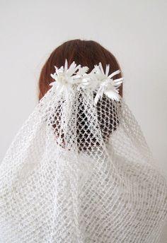 100 Handmade Crochet Elbow Length Wedding Veil Bridal by gebridal, $225.00