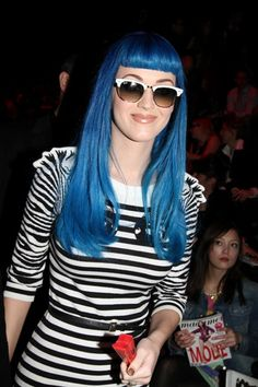 Katy Perry gets blue for fashion week