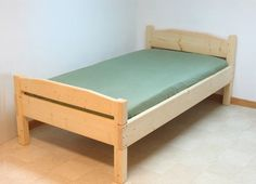Twin bed frames, no box springs, DIY with space for the subtle cut in the headboard