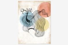 "Dreamy Hair - Art Print 8"" x 10"" | - Oh OnlineStore"