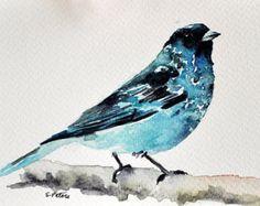 ORIGINAL Watercolor Painting Bird in a spring por ArtCornerShop