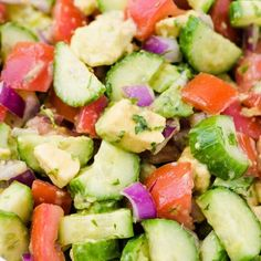 What's your favorite summer salad? Our Cucumber Tomato Avocado Salad is delici What's your favorite summer salad? Our Cucumber Tomato Avocado Salad is delicious on its own or even used on top of a bed of mixed greens. This sala. Chickpea Salad Recipes, Summer Salad Recipes, Easy Salad Recipes, Vegan Recipes, Cooking Recipes, Summer Salads, Cucumber Tomato Salad, Avocado Salat, Tuna Salad