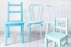 DIY: Alte Stühle im Ombré-Look mit Sprühfarbe lackieren
