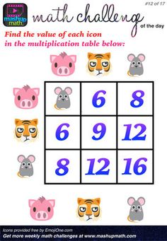 17 Fun and Printable Math Puzzles for Elementary and Middle School Students A Post By: Anthony Persico Games For Grade 1, Math Talk, Math Challenge, Daily Math, Printable Math Worksheets, Math About Me, Maths Puzzles, Free Math, 3rd Grade Math
