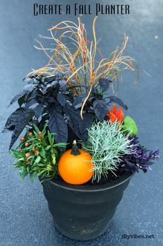 How to Create Fall Outdoor Planters DIY - Fall containers can really make an impact on the curb appeal of your home. They give a pop of color - Diy Planters Outdoor, Fall Planters, Garden Planters, Fall Topiaries, Glass Garden, Hanging Planters, Garden Art, Outdoor Decor, Plastic Hanging Baskets